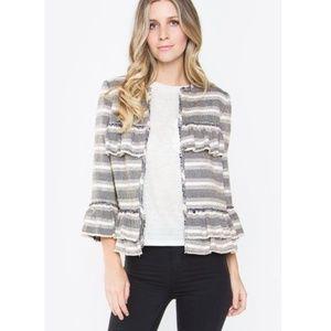 NWOT sugar lips lowri tweed striped ruffle jacket